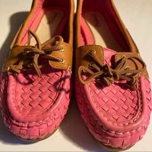Sperry topsider loafers pink leather size 8.5